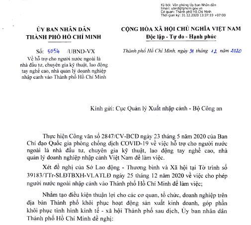 công văn xin chấp thuận nhập cảnh vào Việt Nam